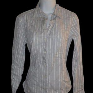 Tommy Hilfiger White & Gray Lined Shirt Size 6